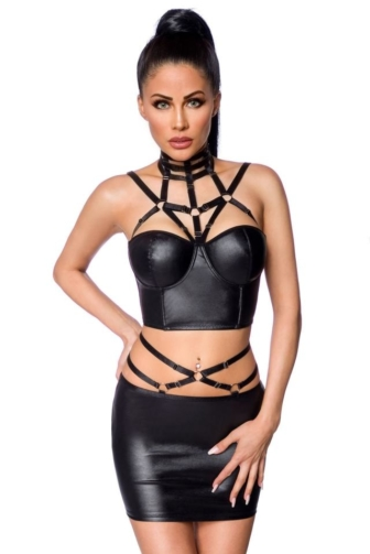 Harness-Wetlook-Set mit Rock